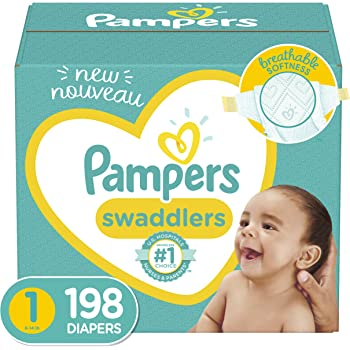 Baby Diapers Newborn/Size 1 (8-14 lb), 198 Count - Pampers Swaddlers, ONE MONTH SUPPLY (Packaging May Vary)