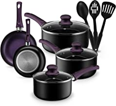 Chef's Star 11 Piece Pots and Pans Set Non-Stick Induction Ready 100% APEO, PFOA and PFOS Free (Purple)
