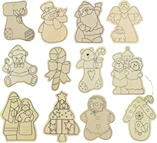 Darice Christmas Decoration Set of 12 Paint- In Wooden Christmas Ornaments