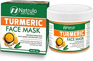 Natrulo Turmeric Face Mask - Skin Brightening Mask with Turmeric and Bentonite Clay - All-Natural Face Mask for Acne Treat...