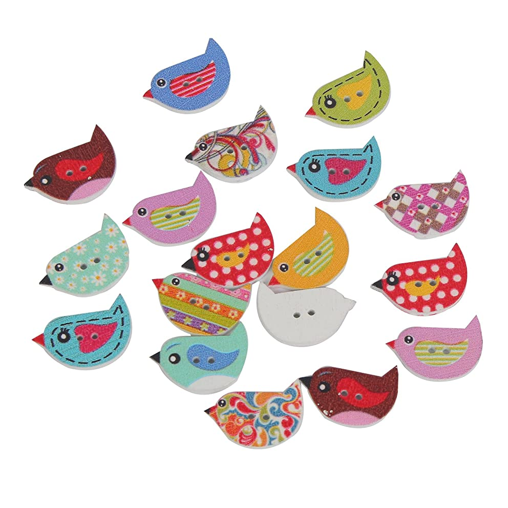 Mahaohao 100Pcs Mixed Random Bird Shape 2 Holes Wood Wooden Painting Buttons for Sewing Crafting …