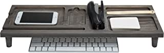 Gray Wooden Desktop Keyboard Organizer with Tablet and Cell Phone Stand