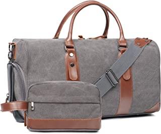 Large Duffle Bag Canvas Leather Weekender Overnight Travel Carry On Tote Bag with Shoe Compartment and Toiletry Bag (Grey)