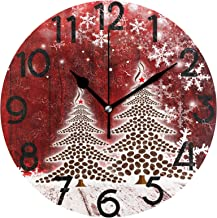 Wamika Christmas Tree Red Snowflake Wall Clock 10 Inch Winter Holiday Snow Xmas Wooden Round Clock Silent Non Ticking Rustic Farmhouse New Year Home Kitchen Decorations Battery Operated Quartz Decor