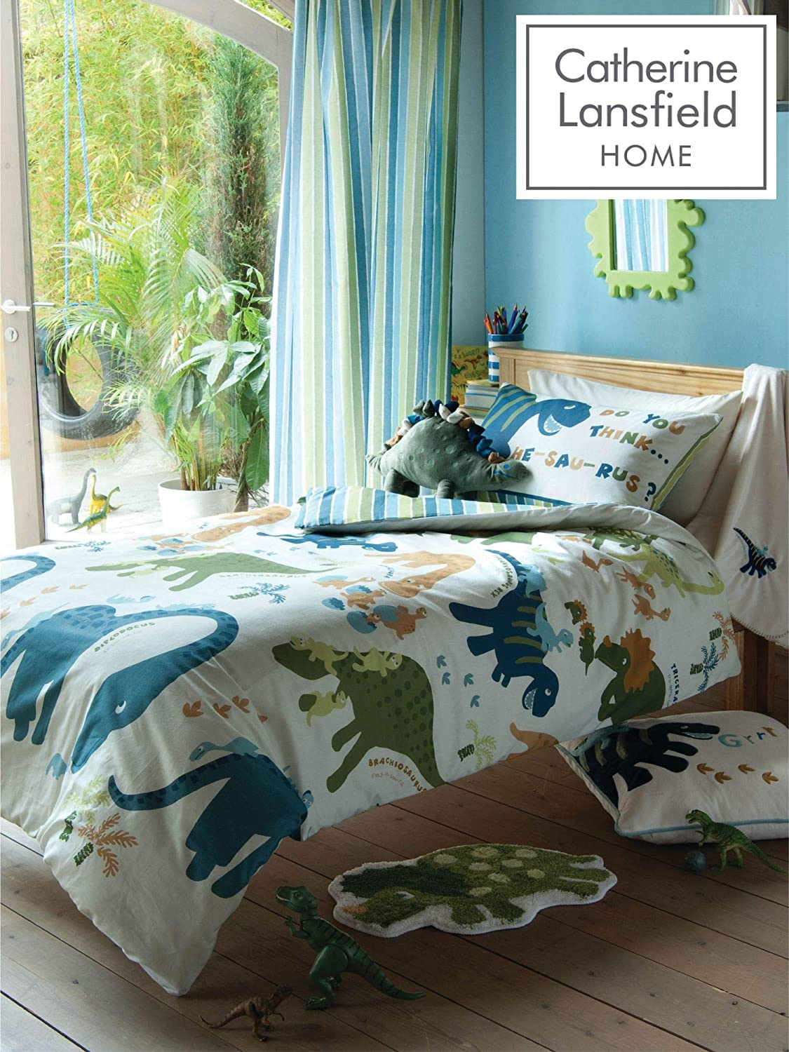 Catherine Lansfield Kids Dino Single Multicoloured Max 50% OFF Our shop OFFers the best service Quiltset