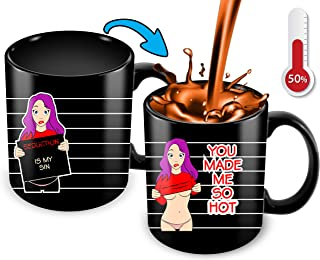 Heat Sensitive Color Changing Funny Coffee Mugfor Her Sister Friend Humorous Pretty Vulgar Sarcastic Rude Sayings Heat Sensitive Mug With A Sexy Hot Women Great Gift Idea11oz Ceramic Coffee Cup