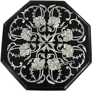 Mesa de café de mármol de 14 pulgadas con incrustaciones de piedras preciosas brillantes para decoración de oficina