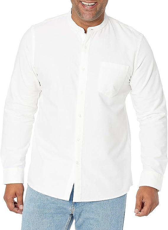 1920s Men's Shirts and Collars History Amazon Brand - Goodthreads Mens Slim-Fit Long-Sleeve Band-Collar Oxford Shirt  AT vintagedancer.com