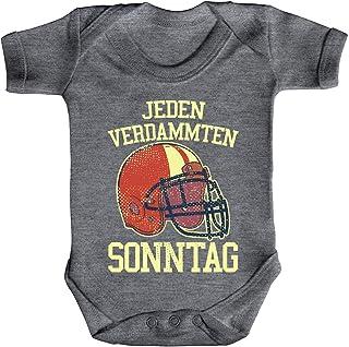 ShirtStreet American Football Gruppen Fan Strampler Bio Baumwoll Baby Body kurzarm Jungen Mädchen Jeden verdammten Sonntag 2
