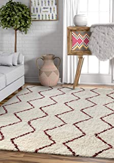 Well Woven Alana Soft Plush Moroccan Shag 4x5 (3'11'' x 5'3'') Area Rug Ivory Red