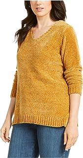 KAREN SCOTT Womens Gold Heather Long Sleeve V Neck Blouse Sweater Petites US Size: PM