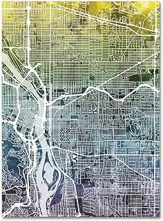 Portland Oregon Street Map V by Michael Tompsett, 24x32-Inch Canvas Wall Art