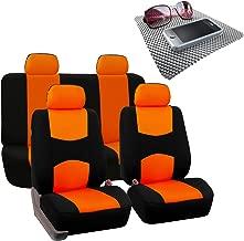 FH Group Bright Flat Cloth Full Set Car Seat Covers w, Orange/Black- Fit Most Car, Truck, SUV, or Van
