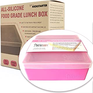 Eco Lunch box for Kids and Adults | All Silicone Lunch Containers with Dividers | Kids lunch container | Microwave, Dishwa...