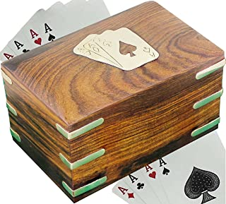 SKAVIJ Wooden Handmade Playing Card Case for 2 Deck of Cards (Brown)