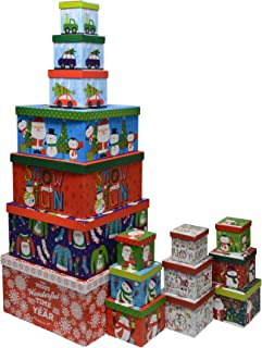 Christmas Boxes, 16 Count Nested, Assorted Large Set with Many Sizes and Prints, fits in one Box (Wonderful Time)