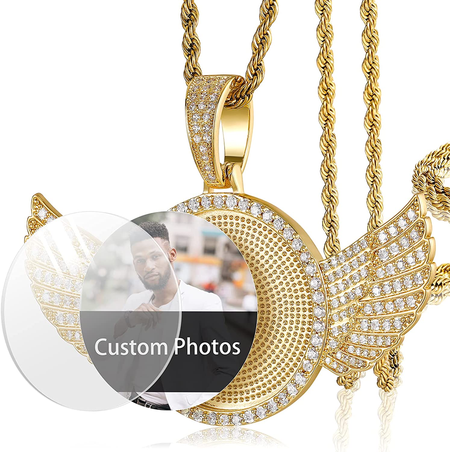 YIMERAIRE Photo Necklace Custom Photo Iced Out Round Angel Wings Pendant Necklace Rope Chain Necklace for Women with Pendant Hip Hop Gold Pendant Chain for Men