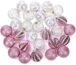 Juvale 28-Pack Christmas Tree Decorations - Glittery Xmas Ball Ornaments in 4 Assorted Designs - Perfect Festive DecorEmbellishments, 2.2 x 2.6 x 2.2 Inches, Pink and Silver