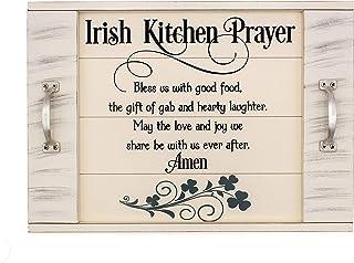 "Irish Blessing Kitchen Prayer Serving Tray with slatted Wood Look 18""x12"" with Silver Finish Metal Handles Irish Shamrock ..."