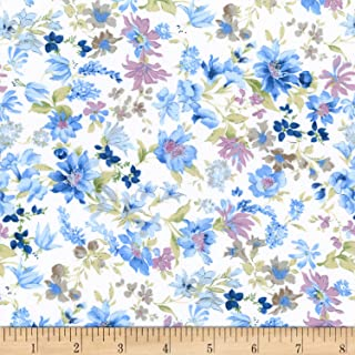 Robert Kaufman Kaufman Sevenberry: Petite Garden Lawn Pastel Floral Blue Fabric by The Yard,