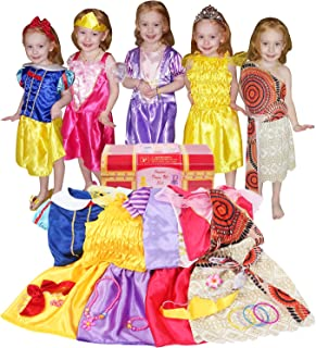 BiBiblack Girls Princess Costume Dress up Trunk for Kids Ages 3-6 Years (3-6 Years- Girls Dress up Trunk) Pink