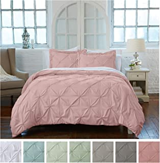 Signature Pinch Pleated Pintuck Duvet Cover 3 Piece Set with Button Closure. Luxuriously Soft 100% Brushed Microfiber with Textured Pintuck Pleats and Corner Ties (King, Rose Smoke)