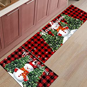 2 Piece Snowman Kitchen Rug Set Merry Christmas Indoor Floor Mats for Winter, Xmas Door Mat Runner Rug Carpet Mat for Kitchen Home Decor (15.7
