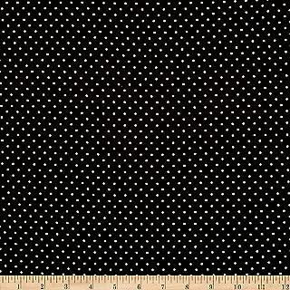Fabric Merchants Double Brushed Poly Jersey Knit Pin Polka Dot Black/Ivory