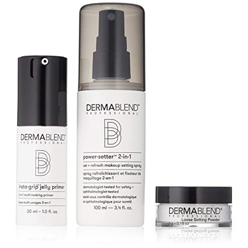 f332411b449f6 Dermablend Makeup Essentials Gift Set with Face Primer, Setting Powder &  Setting Spray