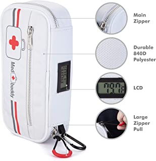 MedBuddy - Insulated Premium Medical Case for EpiPen®, Inhaler, First Aid Kit, Diabetes, and More. Includes: Electronic Temperature LCD, Belt, Mini-Case, and Medical ID (White)