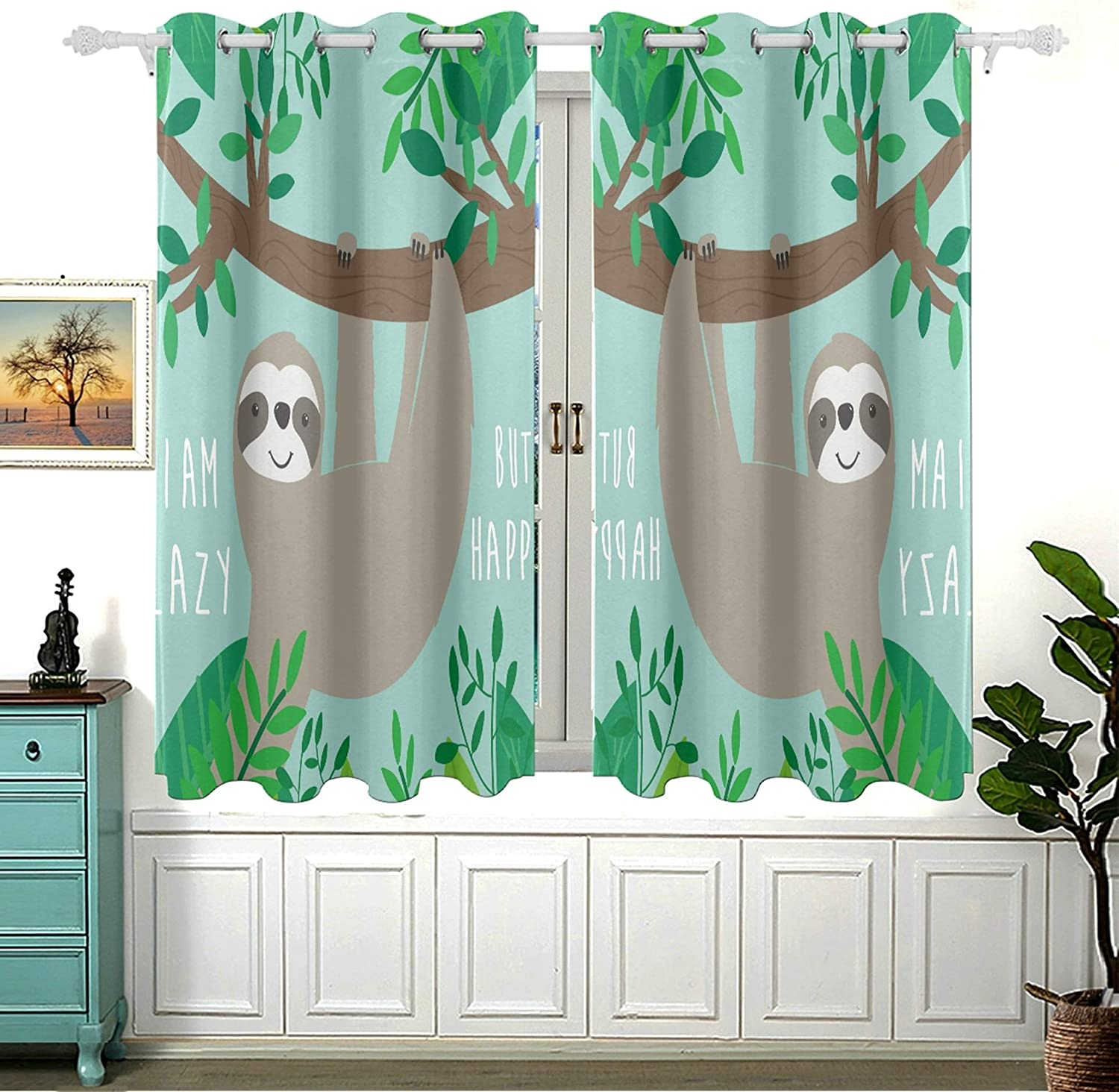 Cute Sloth in Jungle with Quote Save money for Darkening Room Bedroom Curta Cheap mail order specialty store