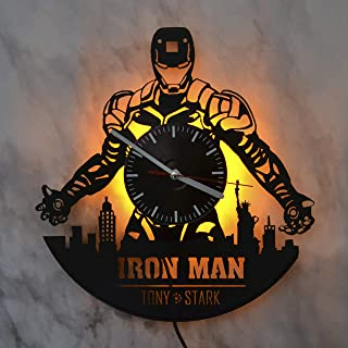 Iron Man Marvel Comics Design LED Light Vinyl Record Wall Clock - Modern Room Interior - The Best Gift Decoration - Beautiful Wall Clock for Your Home - Unique Art Wall Decoration