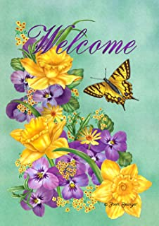 Toland Home Garden Frolic in the Flowers 28 x 40 Inch Decorative Purple Yellow Welcome Flower Butterfly House Flag