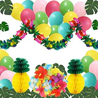 Hawaiian Luau Party Decorations 82Pcs, Tropical Party Balloons, Palm Leaves, Flower Banner, Hibiscus Flowers, Pineapple, f...