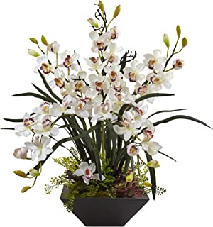 Nearly Natural 1404-WH Cymbidium Orchid Silk Arrangement with Black Vase