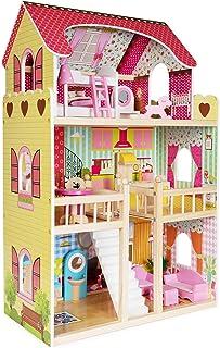 boppi® Högt dockhus i trä för flickor 3 våningar med 17 möbler möbler tillbehör