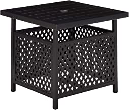 Patio Side Bistro Table Stand with Umbrella Hole Base Outdoor Garden Pool, 21.8(L) x 21.8(W) x 18.5(H) inch, Black