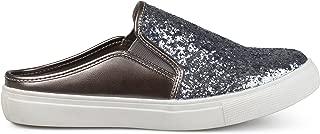 Womens Glitter Faux Leather Slide Sneakers