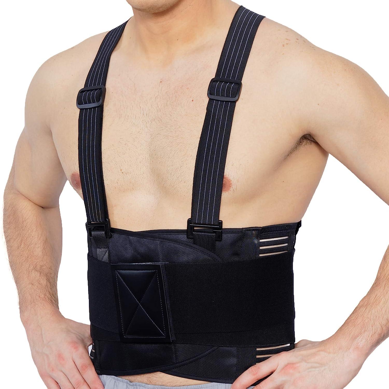 Faja para la espalda con tirantes, apoyo lumbar, cinturón de culturismo / halterofilia - Marca Neotech Care (Negro carbón, Talla XXL)