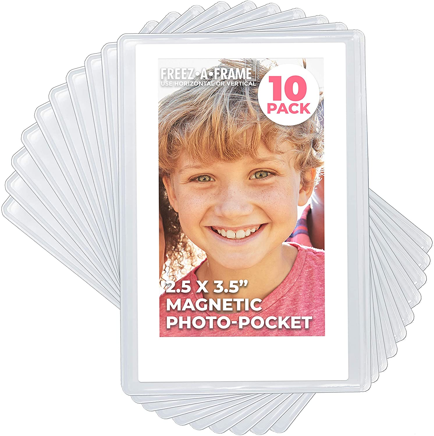 Clear Magnetic Picture Frames for Refrigerator, 20.20 x 20.20 Wallet size  Pack of 20, Freez A Frame