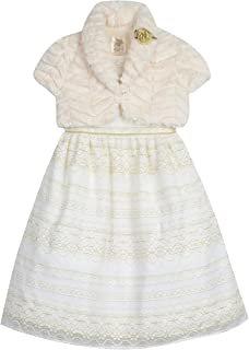 Baby Girls' Lace Party Dress with Cozy Shrug