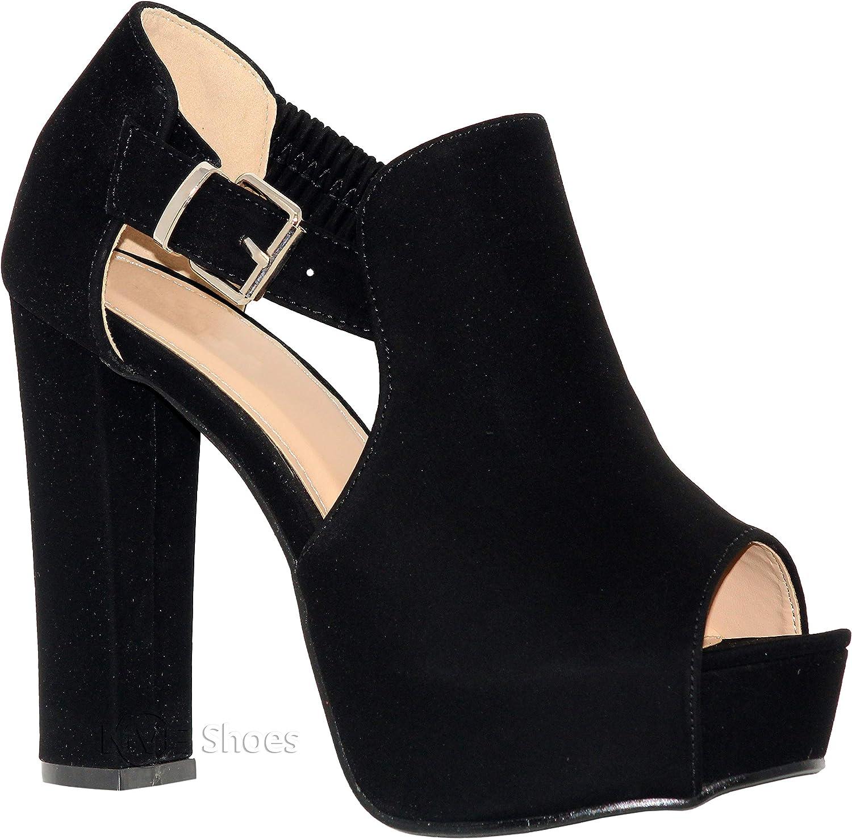 MVE shoes Womens Stylish Open Toe Side Buckle Block Heel