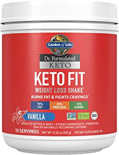 Garden of Life Dr. Formulated Keto Fit Weight Loss Shake - Vanilla Powder, 10 Servings, Truly Grass Fed Butter & Whey Prot...