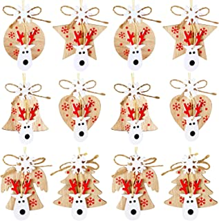 Gejoy Christmas Wooden Ornaments Colorful Wooden Slices Xmas Tree Hanging Tags Wood Embellishments Crafts with Twine for Christmas Tree Home Decorations