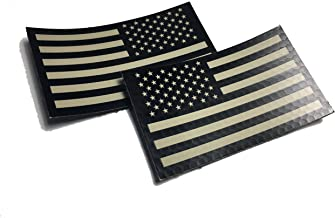 """2 PACK Set - Authentic mil-spec 2"""" x 3.5"""" Black and Tan (FORWARD and REVERSED) Us Ir Infrared USA Flag Military Morale Ref..."""
