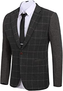 COOFANDY Men's Elegant Regular Fit One Button Plaid Tweed Tuxedo Suit Blazer Jacket