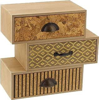 Deco 79 85256 不对称三抽屉木质珠宝胸垫,棕色/灰色/黄色/黑色