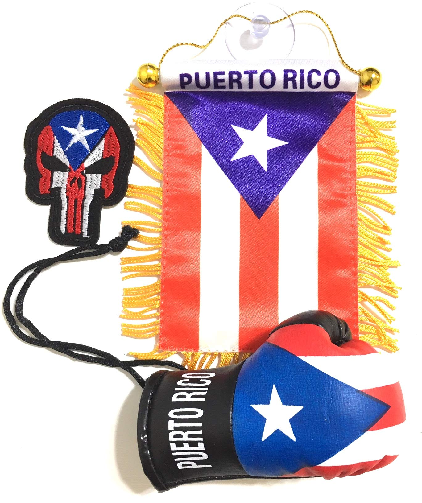 Puerto Rico Flags for Cars Accessory Puerto Rican Flag Stickers Decal PR Boricua Accessories Mini License car Home Accessory Automobile Interior Window Glass Door Room Metal Decal Stickers Flag Mount