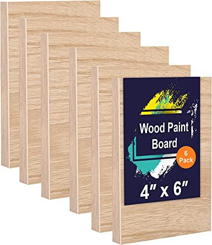 """(6-Pack) 4"""" x 6"""" Wooden Painting Panels - 3/4"""" Thickness Cradled Wood Panels - Sturdy and Smooth Unprimed Birch Ready for Primer, Paint, or Gesso - Perfect for Paint Pouring, Impasto, and More"""