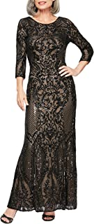 Alex Evenings Women's Long Sequin Dresses with ¾ Sleeves, Black/Nude, 8